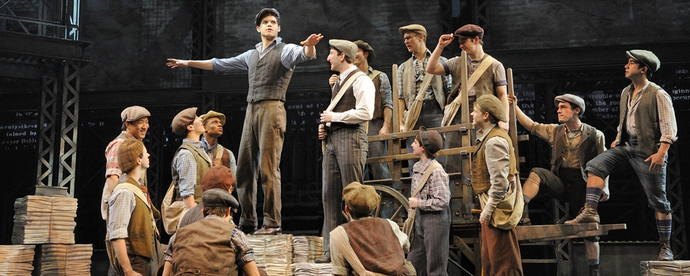 Newsies, a Disney Theatrical Production under the direction of Thomas Schumachter presents Newsies, music by Alan Menken, lyrics by Jack Feldman, book by Harvey Fierstein, starring Jeremy Jordan (Jack Kelly), John Dossett (Joseph Pulitzer), Kara Lindsay (Katherine Plumber), Capathia Jenkins (Medda), Ben Fankhauser (Davey), Andrew Keenan-Bolger (Crutchie), Lewis Grosso (Les) and Matthew J. Schechter (Les) under the direction of Jeff Calhoun, choreographed by Christopher Gattelli, World Premiere, Paper Mill Playhouse, in Millburn, New Jersey on September 25, 2011