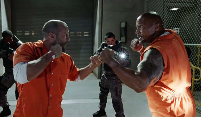 Dwayne Johnson and Jason Statham in Fast and Furious
