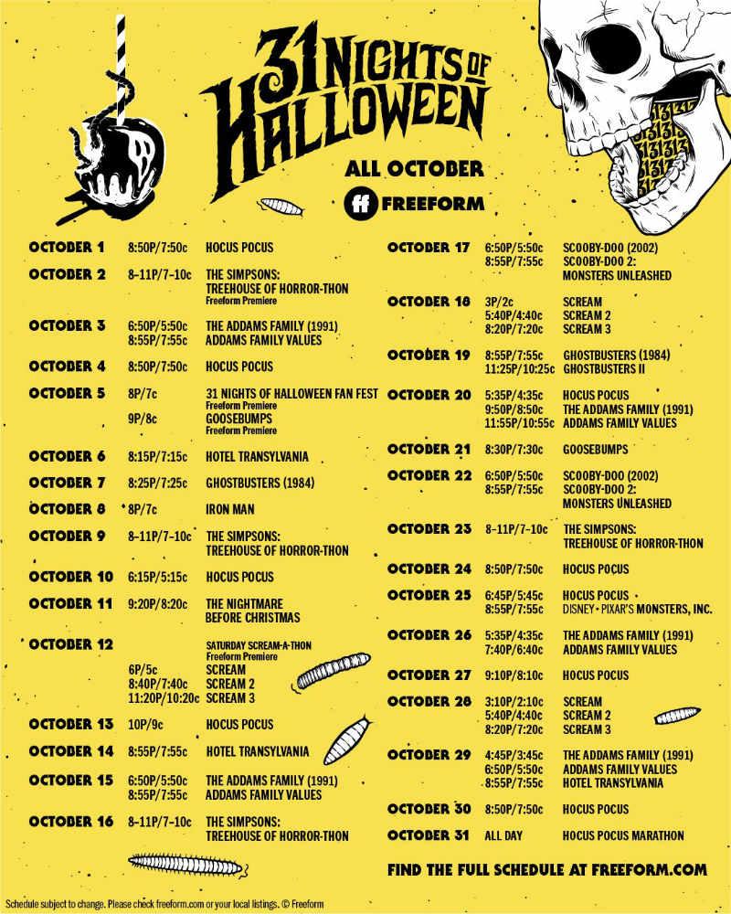 Freedoms 31 Nights Of Halloween 2020 Freeform '31 Nights of Halloween' 2019 schedule: Plenty of 'Hocus
